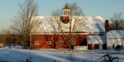 New England Snow Scene Prints - Winter Red Print by Paul Gaj