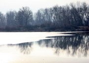 Winter Landscape Photos - Winter Reflection on the Yakima River by Carol Groenen