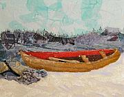 Canoe Mixed Media Originals - Winter Rest by Terry Honstead