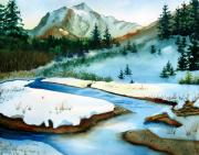Winter Prints Painting Posters - Winter Retreating Poster by Karen Stark