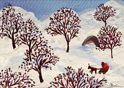 Winter Tapestries - Textiles Prints - Winter Ride Print by Marina Gershman