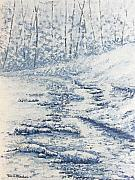 Tn Painting Prints - Winter River II Print by Todd A Blanchard
