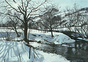 Snowy Stream Paintings - Winter River by John Cooke