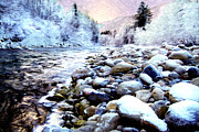 Water Flowing Digital Art Posters - Winter River Poster by Sabine Jacobs