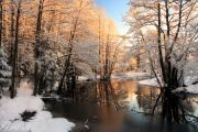 Snowy Evening Prints - Winter river sunrise light Print by Romeo Koitmae