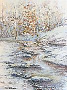 Smoky Mountains Paintings - Winter River by Todd A Blanchard