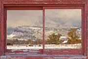Window Frame Framed Prints - Winter Rocky Mountain Foothills Red Barn Picture Window Frame Ph Framed Print by James Bo Insogna