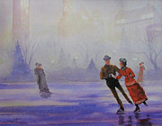 Skating Paintings - Winter Romance by Judy Nigh