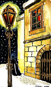 Night Lamp Paintings - Winter Romance by EMONA Art