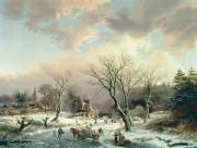 Snow Scene Paintings - Winter Scene   by Johannes Petrus van Velzen