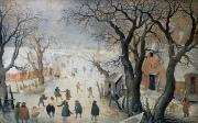 Ice Hockey Paintings - Winter Scene by Hendrik Avercamp