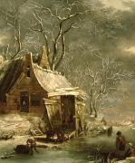 Snowy Scene Paintings - Winter Scene by Jan Beerstraten
