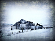 Barn Digital Art Metal Prints - Winter Scene Metal Print by Julie Hamilton