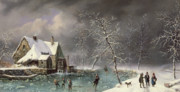 Snowfall Paintings - Winter Scene by Louis Claude Mallebranche