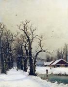 Country Houses Framed Prints - Winter scene Framed Print by Nils Hans Christiansen