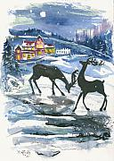 Night Scene Painting Prints - Winter Scene no. 2  Print by Elisabeta Hermann