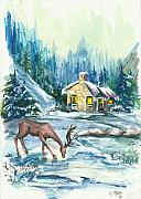 Winter Scene  Christmas Canvas Art Paintings - Winter Scene No.1 by Elisabeta Hermann