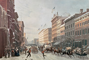 American School; (19th Century) Framed Prints - Winter Scene on Broadway Framed Print by American School