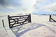 Snow Scene Paintings - Winter Scene with Gate by Paul Dene Marlor