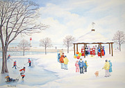 Gazebo Greeting Card Framed Prints - Winter Season Framed Print by Robert Boast Cornish