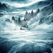 Snow Scenes Digital Art Metal Prints - Winter Seclusion Metal Print by Lourry Legarde