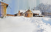 Drifting Snow Painting Prints - Winter Shadows Print by P Anthony Visco