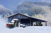 Winter Shed Print by Ron Jones
