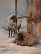 Nursery Room Art Prints Paintings - Winter Sheep by Teresa Silvestri