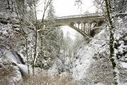 Winter Road Scenes Prints - Winter, Shepperds Dell, Columbia River Print by Craig Tuttle