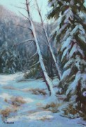 Colorado Trees Pastels Prints - Winter Silence Print by Debra Mickelson