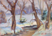 Winter Scene Pastels - Winter Skinny Dippers by Patricia Seitz