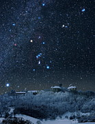 Snowy Night Art - Winter Sky With Orion Constellation by Eckhard Slawik