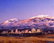 Slide Prints - Winter Skyline of Reno Nevada Print by Vance Fox