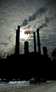 Pig Digital Art - Winter Smokestacks With Pig by Tim Nyberg