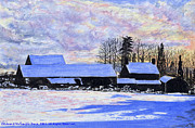 Barns Mixed Media Acrylic Prints - Winter Snow at Cwm Mynach Acrylic Print by Edward McNaught-Davis