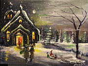 Khatuna Buzzell Metal Prints - Winter Snow Church  Metal Print by Khatuna Buzzell