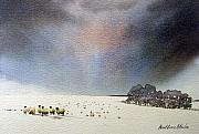 Winter Scene Paintings - Winter Snow Swaledale by Paul Dene Marlor