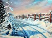 Winter Prints Painting Framed Prints - Winter Snow Tracks Framed Print by Otto Werner