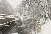 Somesville Maine Prints - Winter Snowstorm In Somesville Maine Print by Keith Webber Jr