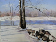 River View Pastels Prints - Winter Solace Print by Cindy Plutnicki