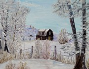 Snow On Barn Posters - Winter solace Poster by Marilyn  McNish