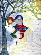 Snowy Drawings - Winter Solstice by Barbara Giordano