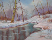 Winter Scene Pastels Metal Prints - Winter Solstice Metal Print by Patricia Seitz