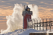 South Haven Framed Prints - Winter South Haven Lighthouse Framed Print by Dean Pennala