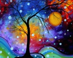 Tree Paintings - WINTER SPARKLE Original MADART Painting by Megan Duncanson