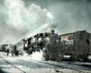 Railroad Workers Art - Winter Steam Train by Randy Steele