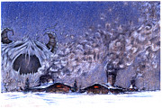 Winter Scenes Pastels - Winter Storm by Chris Montecalvo