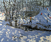 Winter Landscape Paintings - Winter Stream by Andrew Macara