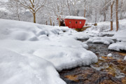 Covered Bridge Acrylic Prints - Winter Stream Acrylic Print by Bill  Wakeley