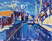 Streetscape Paintings - Winter Street by Brian Simons